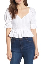 The Fifth Label Currency Puff Sleeve Top White
