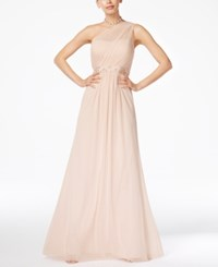 Adrianna Papell Embellished One Shoulder Gown Blush
