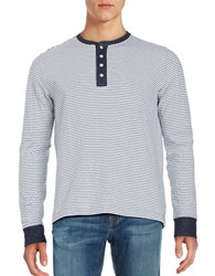 Brooks Brothers Striped Long Sleeve Henley Tee Blue