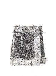 Christopher Kane Button Front Lame Tweed Mini Skirt Cream Multi