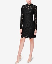 Betsey Johnson Illusion Lace Mock Neck Sheath Dress Black