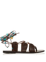Ancient Greek Sandals Amaryllis Stones Leather Sandals Brown Multi
