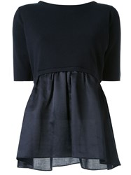 Tomorrowland Poplin Panelled Knitted Top 60