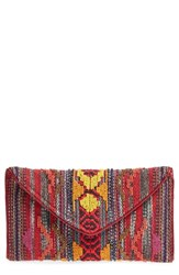 Steve Madden Envelope Printed Fabric Clutch Red