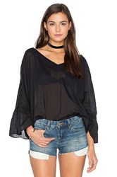 Enza Costa Peasant Voile Loose Ruffle Sleeve Top Black