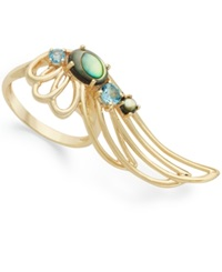 Sis By Simone I Smith 18K Gold Over Sterling Silver Ring Abalone And Blue Crystal Angel Wing Ring