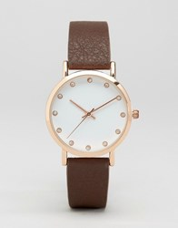 Asos Minimal Tan And Rose Gold Watch With Crystal Detail Tan