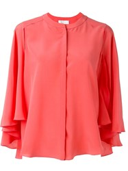 Capucci Ruffle Sleeve Shirt Pink And Purple