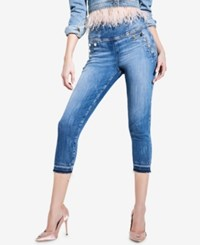 Guess High Rise Curvy Fit Capri Jeans Ocean Feather