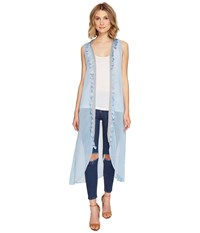 Steve Madden Duster Vest With Tassel Trim Denim Women's Vest Blue