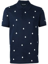 Neil Barrett Darth Vader Print Polo Shirt Blue