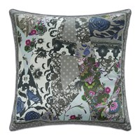 Roberto Cavalli Patchwork Silk Cushion Grey