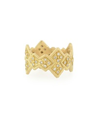 18K Yellow Gold Stackable Ring With Diamond Cravelli Crosses Armenta