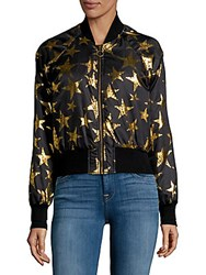 Candc California Star Print Bomber Jacket Black