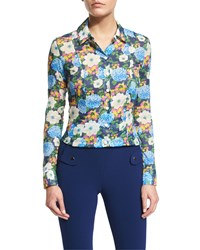 Carven Floral Cotton Voile Blouse Multicolor Multicolore