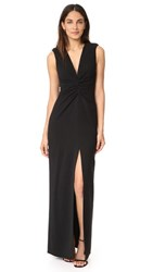 Halston Heritage Gathered Front Gown Black