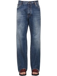 Dolce And Gabbana Loose Cotton Denim Trousers Blue