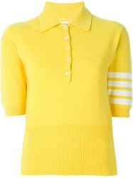 Thom Browne Short Sleeve Polo Shirt With 4 Bar Stripes Yellow And Orange