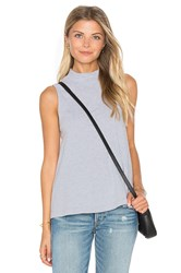 Splendid Delcia Rugby Stripe Turtleneck Tank Light Gray