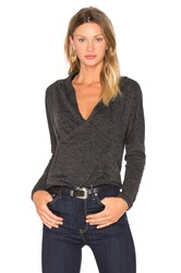 Bobi Fine Woolen Jersey Cross Front Long Sleeve Top Charcoal