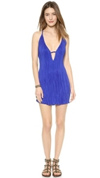 Shakuhachi Stretch Pleat Mini Dress Cobalt