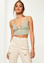 Missguided Petite Exclusive Green Bandage Ring Front Bralet