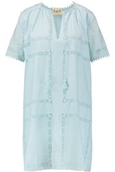 Sea Lace Embroidered Cotton Dress Sky Blue