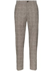 Dolce And Gabbana Check Wool Trousers Brown