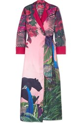 F.R.S For Restless Sleepers Alectrona Printed Silk Satin Twill Wrap Maxi Dress Pink