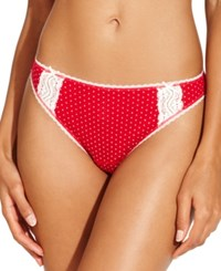 Charter Club Pointelle Cotton Bikini Red Pindot