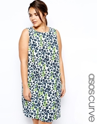 Asos Curve Shift Dress With Pockets In Animal Print Multi