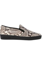 Michael Michael Kors Keaton Snake Effect Leather Slip On Sneakers Leopard Print