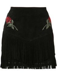 Adaptation The Chain Gang Rose Fringe Skirt Women Suede Cupro 26 Black