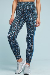 Anthropologie Lux Ladder Leggings Blue Motif