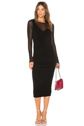Michael Stars Ruched Midi Dress Black