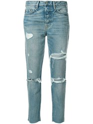 Grlfrnd Ripped Straight Jeans Cotton Blue