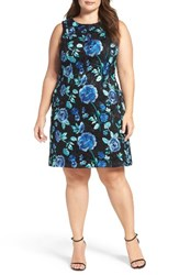 Eliza J Plus Size Women's Embroidered Fit And Flare Dress Black Blue
