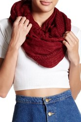 Free Press Fringed Open Weave Infinity Scarf Red