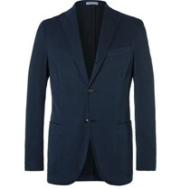 Boglioli Blue K Jacket Slim Fit Herringbone Stretch Cotton Blend Suit Jacket Storm Blue