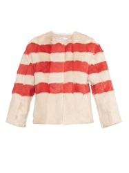 Red Valentino Striped Fur Jacket