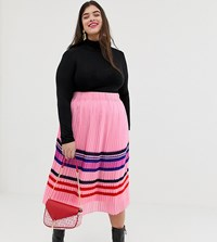 Junarose Stripe Pleated Midi Skirt Pink