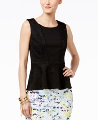 Thalia Sodi Lace Trim Peplum Top Only At Macy's Deep Black