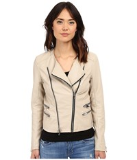 Blank Nyc Vegan Leather Moto Crop Jacket Taupe Women's Jacket