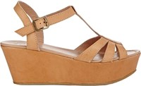 Barneys New York T Strap Platform Wedge Sandals Nude
