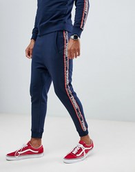 Jack And Jones Originals Skinny Fit Joggers With Slogan Leg Tape Total Eclipse Navy