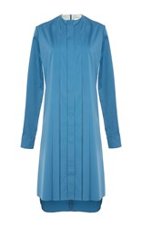 Alexis Mabille Pleated Shirt Dress Blue