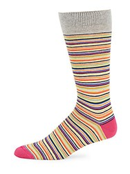 Saks Fifth Avenue Made In Italy Striped Cotton Blend Socks Pink