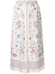 Vilshenko Printed Button Skirt White