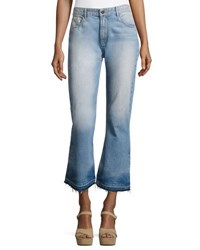 Alice Olivia Tasha High Waist Cropped Jeans With Released Hem Light Blue