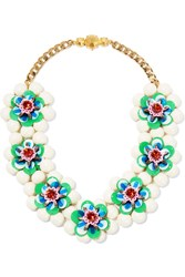 Shourouk Gold Tone Bead Sequin And Crystal Necklace Blue